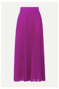 Victoria, Victoria Beckham - Pleated Satin-trimmed Jersey Midi Skirt - Magenta