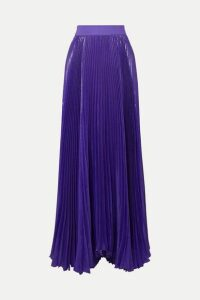 Alice + Olivia - Katz Pleated Metallic Silk-blend Maxi Skirt - Purple