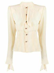 Dolce & Gabbana tie neck blouse - NEUTRALS