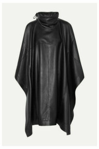 Salvatore Ferragamo - Leather Turtleneck Cape - Black