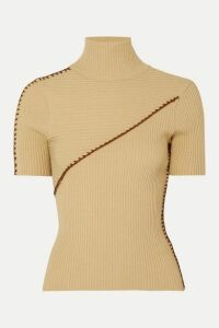 Andersson Bell - Paneled Ribbed Turtleneck Sweater - Neutral