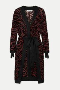 Diane von Furstenberg - Pianna Satin-trimmed Leopard-print Devoré-chiffon Wrap Dress - Black