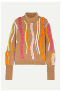 Peter Pilotto - Embroidered Wool-blend Jacquard Turtleneck Sweater - Beige