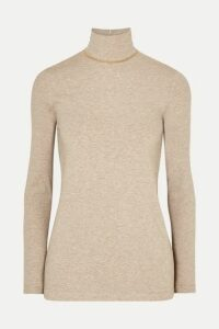 Brunello Cucinelli - Bead-embellished Mélange Stretch Cotton-jersey Turtleneck Top - Camel