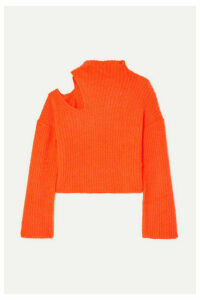 Beaufille - Forero Neon Cutout Ribbed-knit Turtleneck Sweater - Bright orange