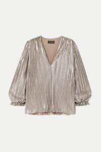 Saloni - Metallic Plissé-lamé Top - Silver