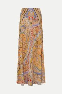 Etro - Paisley-print Silk Crepe De Chine Maxi Skirt - Peach