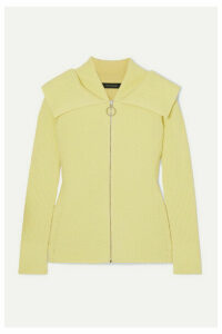 Cédric Charlier - Ribbed Wool-blend Cardigan - Pastel yellow