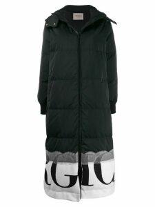 Iceberg printed logo long padded coat - Black
