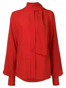 Victoria Beckham tie neck blouse - Red