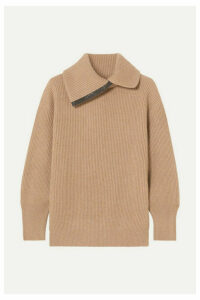 Brunello Cucinelli - Bead-embellished Ribbed Cashmere Turtleneck Sweater - Camel