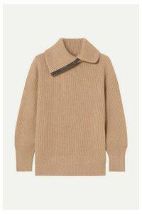 Brunello Cucinelli - Bead-embellished Ribbed Cashmere Turtleneck Sweater - Camel