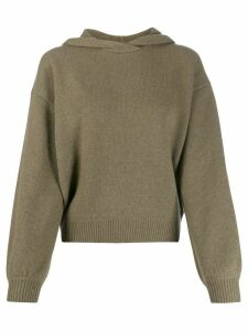 Pringle of Scotland cropped volume sleeve hoodie - Green