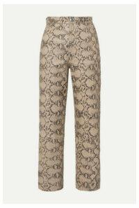 SPRWMN - Snake-effect Leather Straight-leg Pants - Snake print