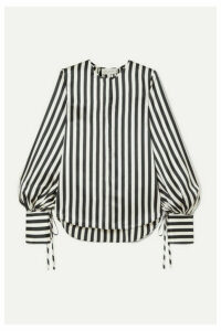 Lee Mathews - Nicholas Striped Silk-satin Blouse - Black