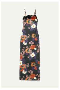 STAUD - Heidi Floral-print Stretch-satin Maxi Dress - Black