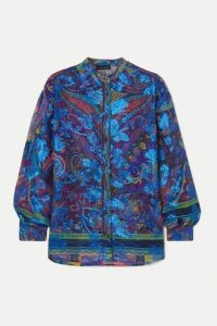 Etro - Paisley-print Fil Coupé Silk-blend Georgette Blouse - Blue