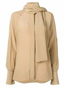 Victoria Beckham tie neck blouse - NEUTRALS