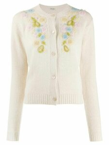 Miu Miu embroidered flower cardigan - NEUTRALS
