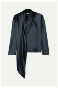 Deveaux - Draped Satin Blouse - Navy