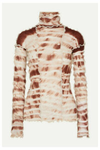 Asai - Hotwok Ruffled Tie-dyed Stretch-mesh Turtleneck Top - Brown