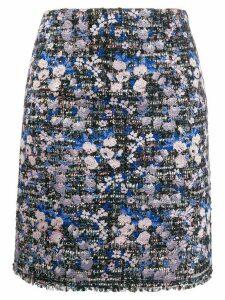 Giambattista Valli floral embroidered tweed skirt - Blue