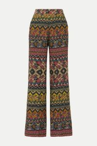 Etro - Printed Wool And Silk-blend Twill Wide-leg Pants - Blush
