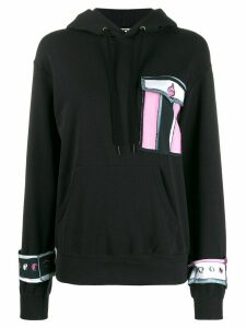 EDDA abstract flap pocket hoodie - Black