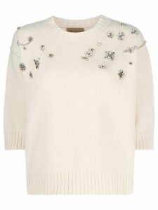 ALESSIA SANTI mixed stone-embellished jumper - White