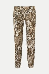 Norma Kamali - Striped Snake-print Stretch-jersey Track Pants - Gray