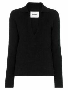 Jil Sander Collared v-neck knit jumper - Black