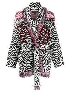 Alanui fair isle zebra-print cardigan - PINK