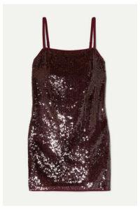 STAUD - Minnie Sequined Chiffon Mini Dress - Merlot