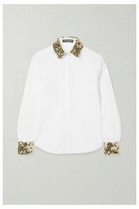 Dolce & Gabbana - Sequin-embellished Cotton-blend Poplin Shirt - White
