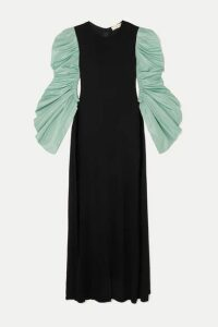 Tory Burch - Ruched Taffeta And Crepe Maxi Dress - Black