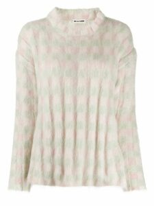 Jil Sander checked pattern jumper - White