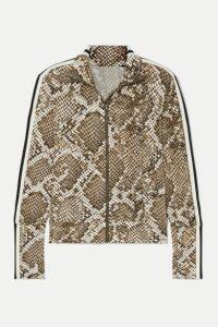 Norma Kamali - Striped Snake-print Stretch-jersey Track Jacket - Snake print