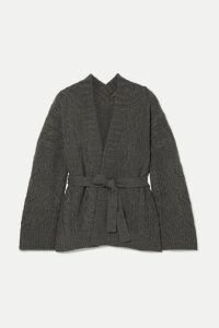 Loro Piana - Belted Cable-knit Cashmere Cardigan - Dark gray