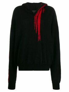 Ann Demeulemeester long sleeved knitted hoodie - Black