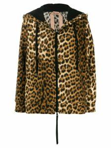 Nº21 leopard print zip-front hoodie - Brown