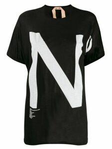 Nº21 oversized logo print T-shirt - Black