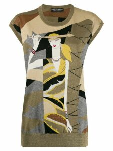 Dolce & Gabbana lurex intarsia knit sweater vest - GOLD