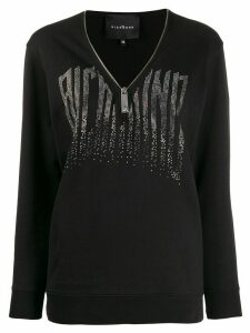 John Richmond V-neck zipped sweatshirt - Black
