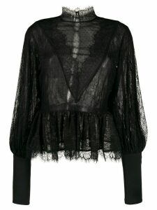 Amen lace trim sheer blouse - Black
