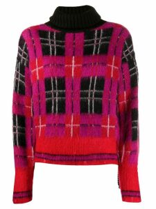 Frankie Morello roll neck checked pattern sweater - PINK