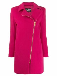Boutique Moschino zip-up long-sleeve coat - PINK