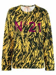 Nº21 Animal print logo sweatshirt - Yellow