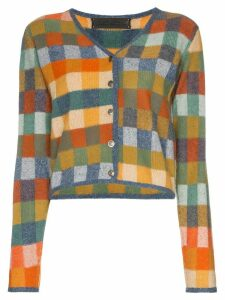 The Elder Statesman Gee's plaid cashmere cardigan - ORANGE