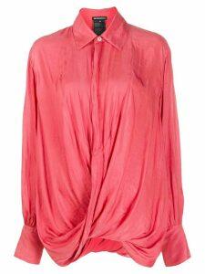 Ann Demeulemeester smocked twist shirt - Pink
