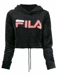 Fila velvet logo cropped hoody - Black